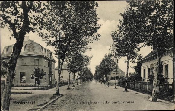 Ak Fredersdorf Vogelsdorf Brandenburg, Platanenstraße Ecke Gartenstraße