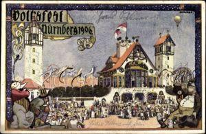 Künstöer Ak Schwabe, Nürnberg in Mittelfranken Bayern, Volksfest 1906, Besucher
