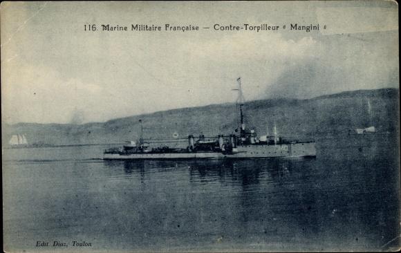 Ak Französisches Kriegsschiff, Mangini, Contre Torpilleur, Marine Militaire Francaise
