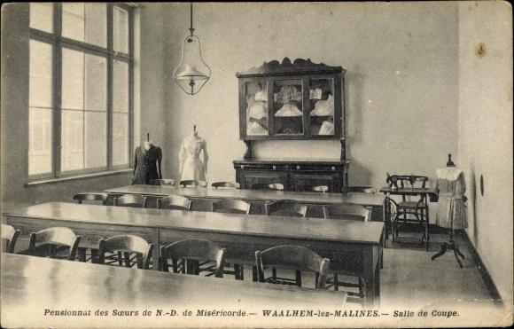 Ak Walem Mechelen Malines Flandern Antwerpen, Salle de Coupe, Nähmaschine, Schneiderpuppe