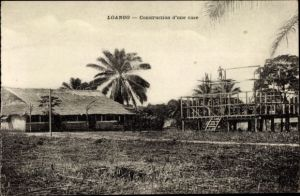 Ak Loango DR Kongo Zaire, Construction d'une case
