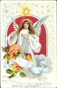 Ak Glückwunsch Neujahr, Engel, Stern, Rosen