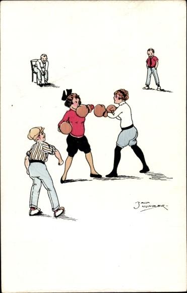 Künstler Ak Number, Jack, Frauen beim Boxkampf, PFB 2119/4