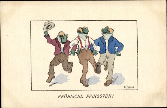 Künstler Ak Hesse, H., Glückwunsch Pfingsten, Vermenschlichte Frösche