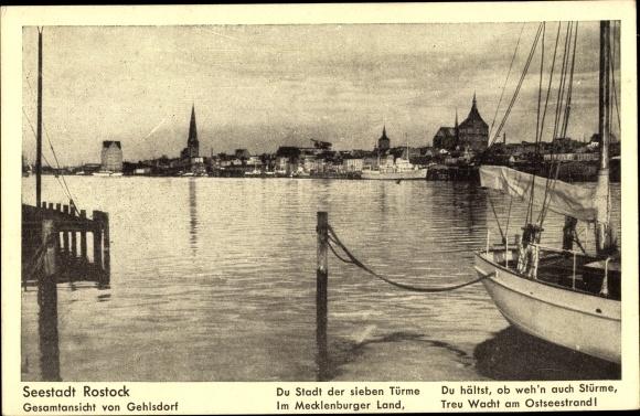 Ak Rostock, Stadt der Sieben Türme, Gesamtansicht von Gehlsdorf aus, Hafen, Warnow