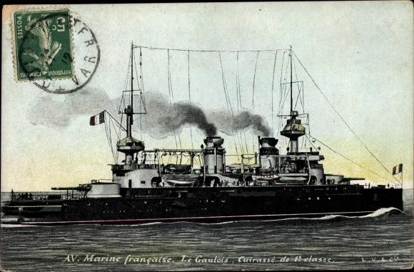 Ak Französisches Kriegsschiff, Le Gaulois, Cuirassé de 1e Classe, Marine Francaise