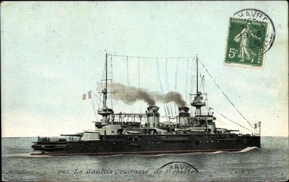 Ak Französisches Kriegsschiff, Le Gaulois, Cuirassé de 1e Classe