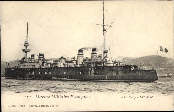 Ak Französisches Kriegsschiff, Sully, Croiseur, Marine Militaire Francaise