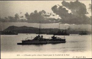 Ak Französische Kriegsschiffe, L'Escadre prete à lever l'ancre pour le Combat de la Nuit