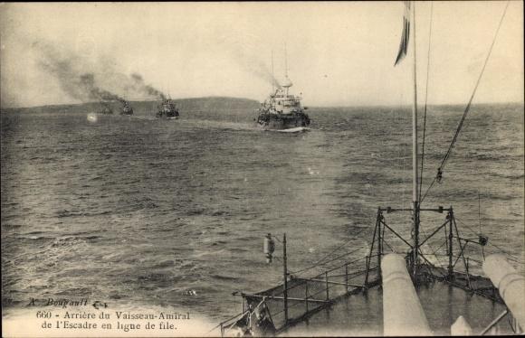 Ak Französische Kriegsschiffe, Arrière du Vaisseau Amiral de l'Escadre en ligne de file