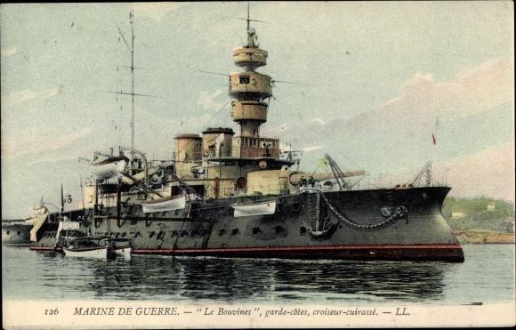 Ak Französisches Kriegsschiff, Marine Militaire Francaise, Le Bouvines, Garde Cotes Cuirassé