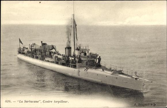 Ak Französisches Kriegsschiff, La Sarbacane, Contre Torpilleur