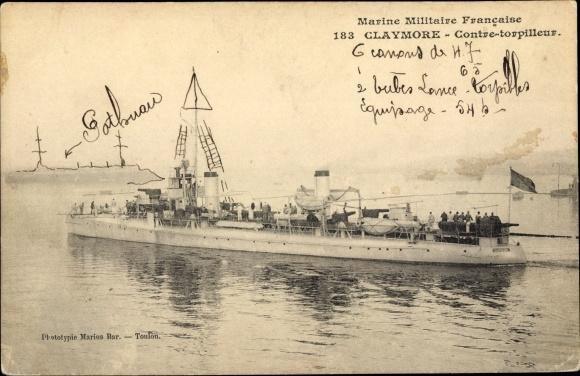 Ak Französisches Kriegsschiff, Claymore, Contre Torpilleur, Marine Militaire Francaise