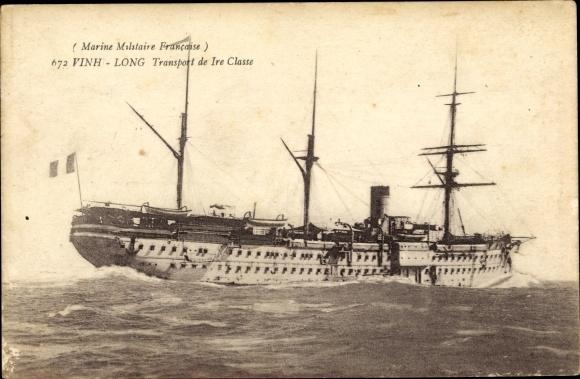 Ak Französisches Kriegsschiff, Vinh Long, Transport de 1re Classe, Marine Militaire Francaise