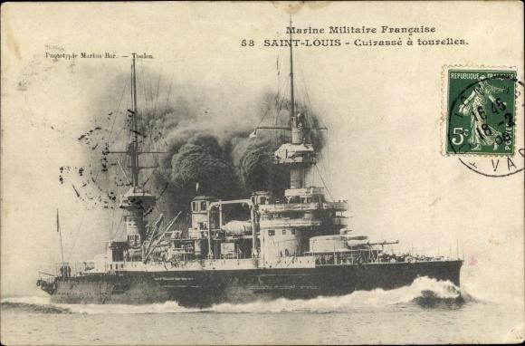 Ak Französisches Kriegsschiff, St. Louis, Cuirassé d'Escadre à Tourelles, Marine Militaire Francaise