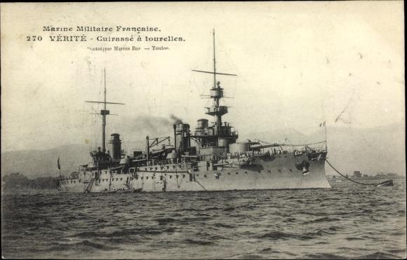Ak Französisches Kriegsschiff, Vérité, Cuirassé à Tourelles, Marine Militaire Francaise