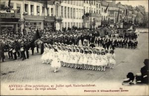 Ak Antwerpen Anvers Flandern, Fête patriotique 1908, Vaderlandsfeest, Les écoles libres