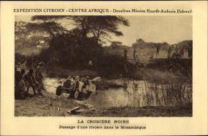 Ak Mosambik, Passage d'une riviére, Expédition Citroën, Mission Haardt Audouin Dubreul, Auto