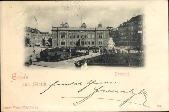 Ak Görlitz in der Lausitz, Blick auf den Postplatz