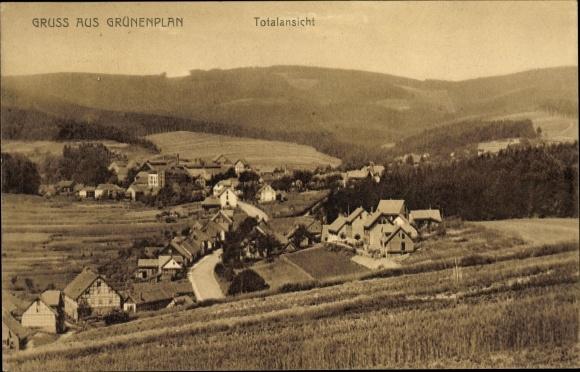 Ak Grünenplan Delligsen Niedersachsen, Blick auf den Ort mit Umgebung