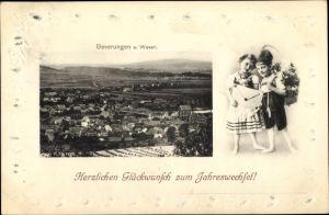 Präge Passepartout Ak Beverungen in Nordrhein Westfalen, Stadtpanorama, Glückwunsch Neujahr, Kinder