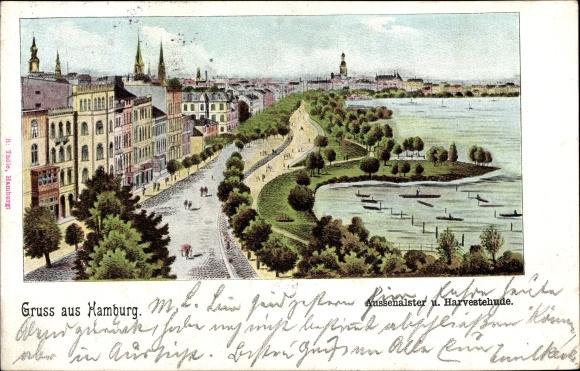 Litho Hamburg Eimsbüttel Harvestehude, Außenalster