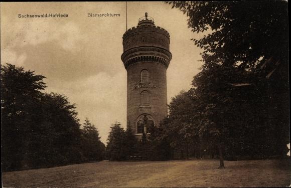 Ak Aumühle in Schleswig Holstein, Bismarckturm Sachsenwald Hofriede