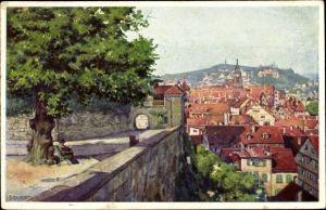 Künstler Ak Tübingen am Neckar Baden Württemberg, Blick von der Schlosslinde