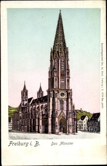 Leuchtfenster Ak Freiburg im Breisgau, Das Münster