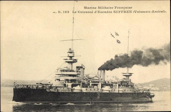 Ak Französisches Kriegsschiff, Suffren, Cuirassé d'Escadre, Vaisseau Amiral