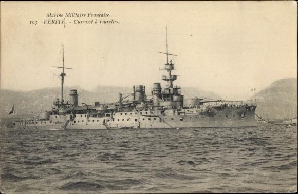 Ak Französisches Kriegsschiff, Verité, Cuirassé à Tourelles, Marine Militaire Francaise