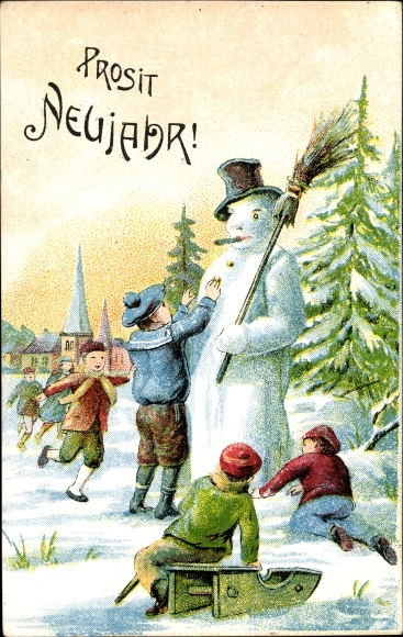 Ak Glückwunsch Neujahr, Kinder bauen einen Schneemann, Schlitten