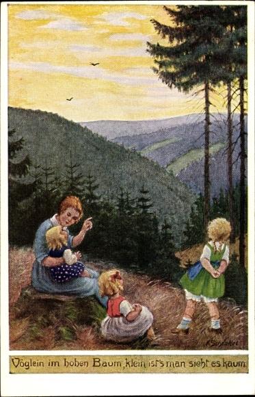 Künstler Ak Schenkel, Franziska, Vöglein im hohen Baum, klein ist's man sieht es kaum