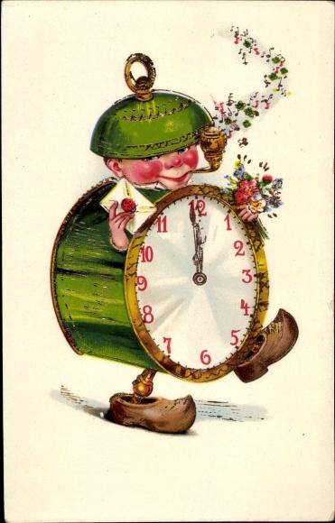 Ak Glückwunsch, Vermenschlichte Uhr, Wecker, Zeiger auf Mitternacht