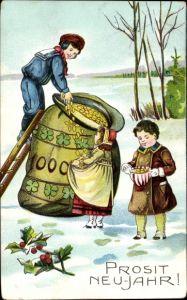 Präge Ak Glückwunsch Neujahr, Kinder, Geldsack voller Münzen