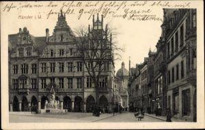 Ak Münster in Westfalen, Partie auf der Salzstraße mit Blick zum Lambertusbrunnen