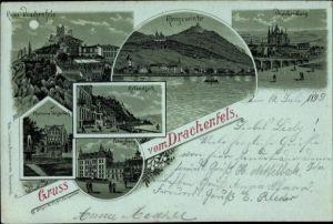 Mondschein Litho Königswinter im Rhein Sieg Kreis, Ruine Drachenfels, Drachenburg, Petersberg