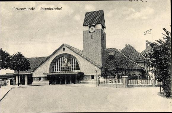 Ak Travemünde Lübeck Schleswig Holstein, Ansicht vom Strandbahnhof