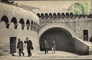 Ak Monaco, Fürst Albert I. von Monaco, Prince rentrant au palais