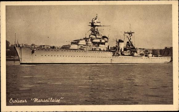 Ak Französisches Kriegsschiff, Kreuzer Marsellaise im Hafen, Croiseur