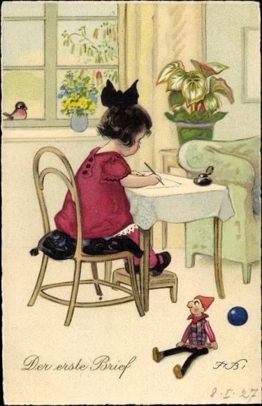 Künstler Ak Baumgarten, Fritz, Mädchen schreibt einen Brief, Puppe, Meissner Buch 2906