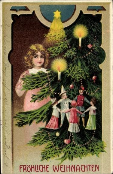 Präge Ak Frohe Weihnachten, Tannenbaum, Kind, Puppen