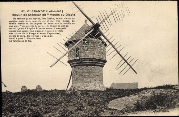 Ak Guérande Loire Atlantique, Moulin de Crémeur dit Moulin du Diable, Windmühle