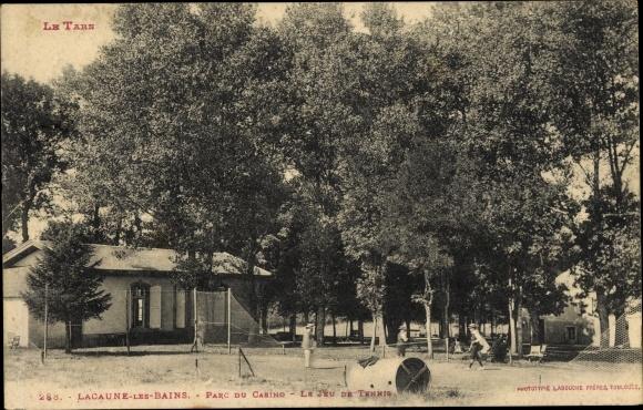 Ak Lacaune les Bains Tarn, Parc du Casino, le Jeu de Tennis, Tennisplatz