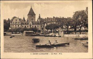 Ak Ouchy Lausanne Kt. Waadt, Le Port, Ruderboote, Blick zum Hafen, Häuser