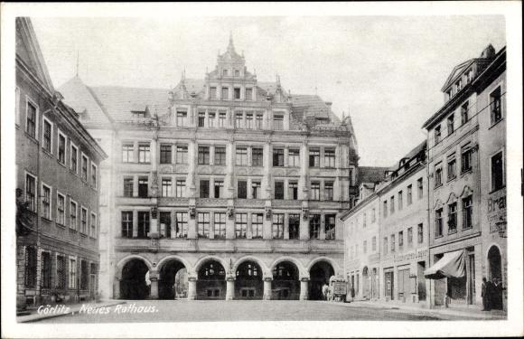 Ak Görlitz in der Lausitz, Partie am neuen Rathaus