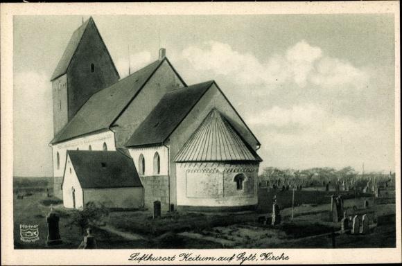 Ak Keitum auf Sylt, Außenansicht Kirche mit Friedhof, Foto. Pförtner  0