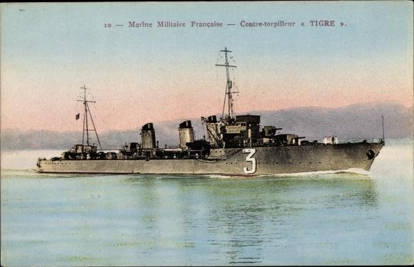Ak Französisches Kriegsschiff, Tigre, 3, Contre Torpilleur, Marine Militaire Francaise