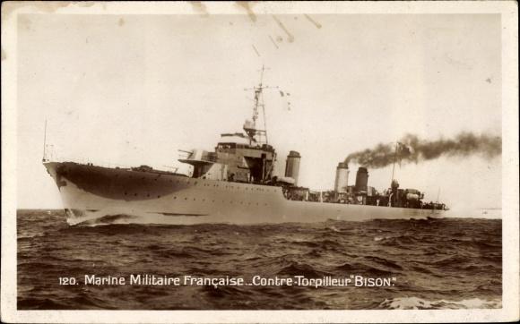 Ak Französisches Kriegsschiff, Bison, Contre Torpilleur, Marine Militaire Francaise