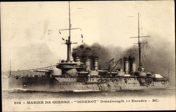 Ak Französisches Kriegsschiff, Diderot, Dreadnought 1re Escadre, Marine de Guerre